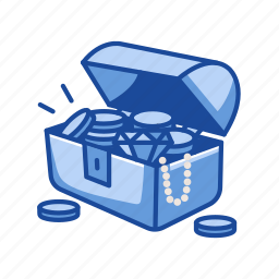 chest, chest of gold, gold, treasure icon
