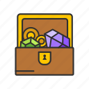 chest of diamonds, diamonds, jewelries, treasure icon