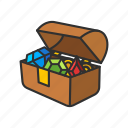 gold chest, loot, treasure, treasure chest icon