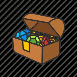 gold chest, loot, treasure, treasure chest icon