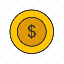 coin, currency, dollar, gold coin icon