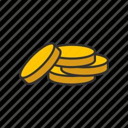 coins, gold, gold coin, money icon