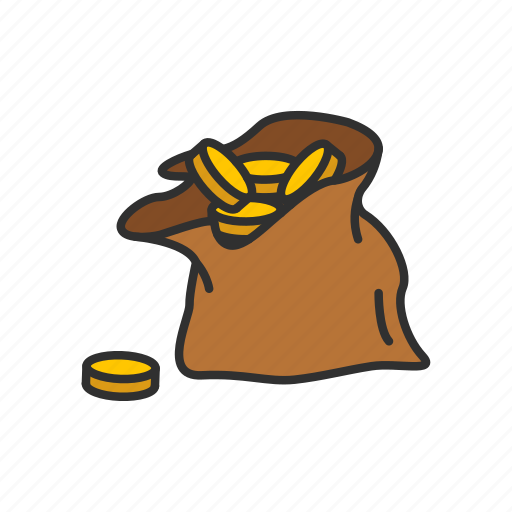 coin bag, coins, gold, pile of gold icon