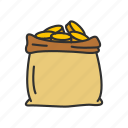 coin bag, coins, gold, gold bag icon