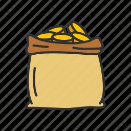 coin bag, coins, gold, gold bag icon