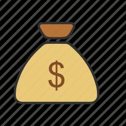 cash, coin bag, coins, dollar coins icon