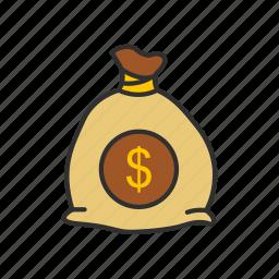 coin bag, coins, dollars, money bag icon
