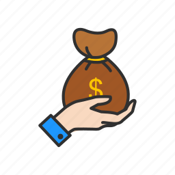 coin bag, coins, gold, payment icon