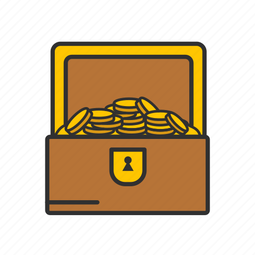 chest of gold, coins, gold, treasure icon