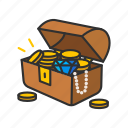 gold chest, golds, loot, treasure chest icon