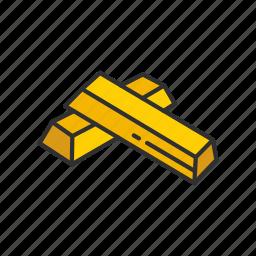 gold, gold bar, loot, treasure icon