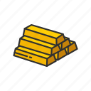 bars of gold, brick of gold, gold, gold bar icon