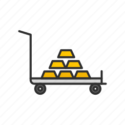 cart, gold bar, gold bar on cart, push cart icon