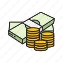 cash, coins, dollar bills, gold coins icon