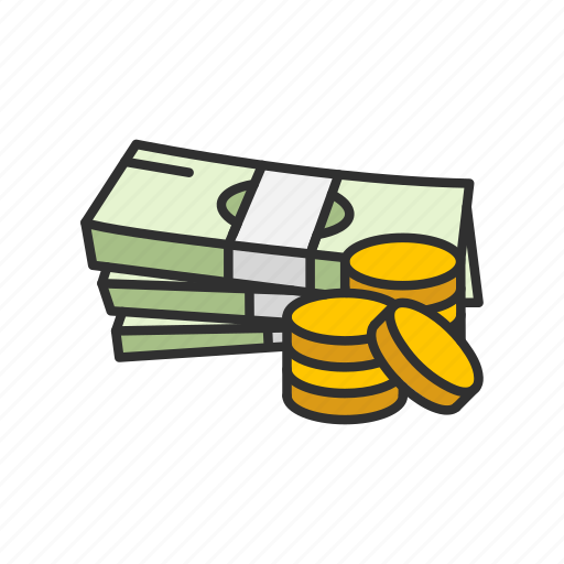 cash, cash and coins, financial, money icon