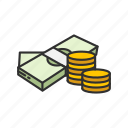 bills, cash, coins, gold coins icon