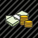 bills, cash, coins, gold coins