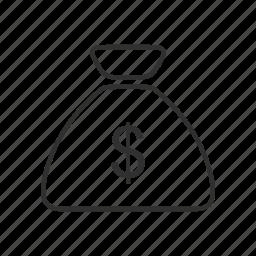 bank, cash, cash bag, coin bag, currency, money, money bag icon