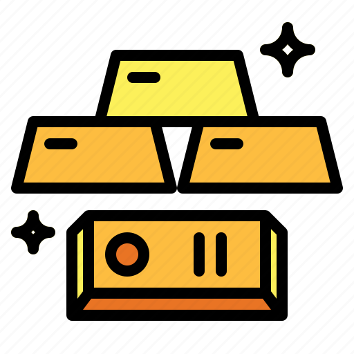 bank, business, gold, ingots icon