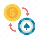 bet, casino, chip, exchange, gamble, gambling, poker icon