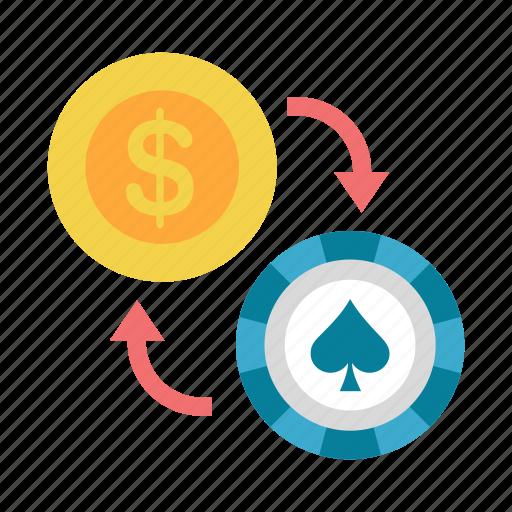 bet, casino, chip, exchange, gamble, gambling, poker icon