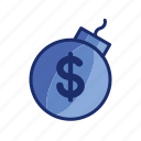 bomb, debt, loan, money icon