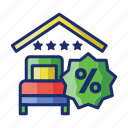 4 stars, bed, discounted, rooms icon