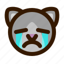 animals, cat, crying, cute, emoji, emoticon, 猫 icon