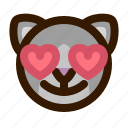 animals, cat, cute, emoji, emoticon, love, 猫 icon