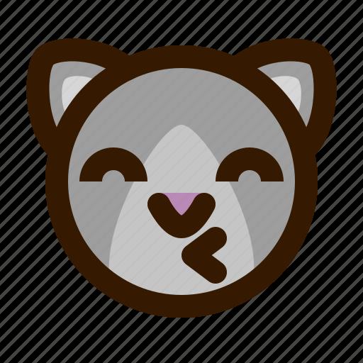 animals, cat, cute, emoji, emoticon, kiss, 猫 icon