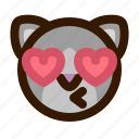animals, cat, cute, emoji, emoticon, kiss, 猫 icon