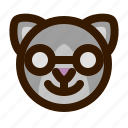 animals, cat, cute, emoji, emoticon, nerd, 猫 icon