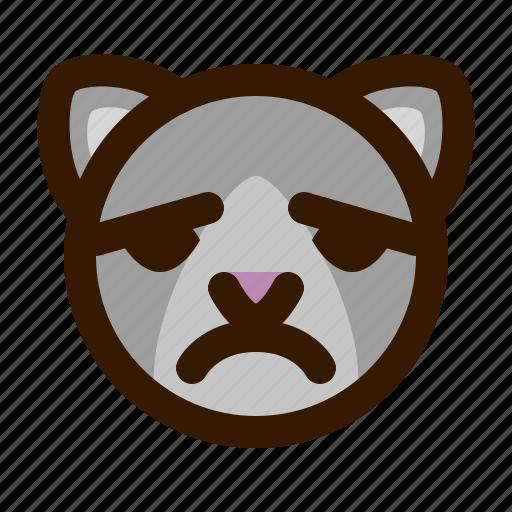 animals, cat, cute, emoji, emoticon, sad, 猫 icon