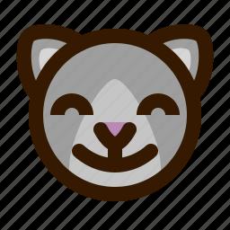 animals, cat, cute, emoji, emoticon, satisfied, 猫 icon