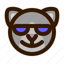 animals, cat, cute, emoji, emoticon, sunglasses, 猫 icon