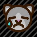 animals, cat, cute, emoji, emoticon, tear, 猫 icon