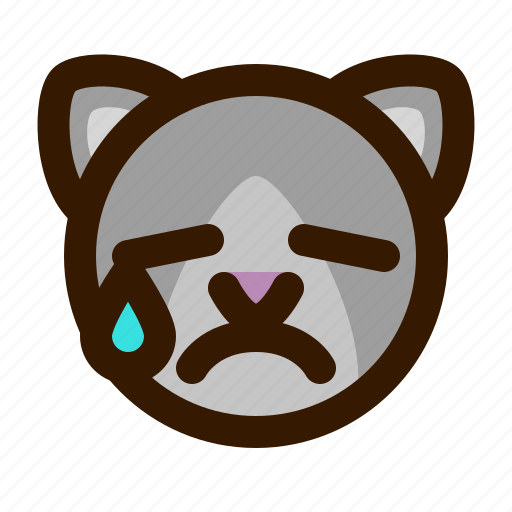 animals, cat, cute, emoji, emoticon, tear, 猫 icon