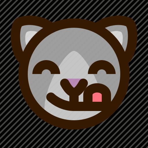 animals, cat, cute, emoji, emoticon, tongue, 猫 icon