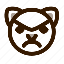angry, animal, avatar, cat, cute, emoji, emoticon icon