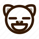 animal, avatar, cat, contented, cute, emoji, emoticon icon