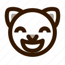 animal, avatar, cat, cute, emoji, emoticon, glad icon