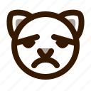 animal, avatar, cat, cute, emoji, emoticon, sad icon