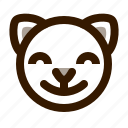 animal, avatar, cat, cute, emoji, emoticon, satisfied icon