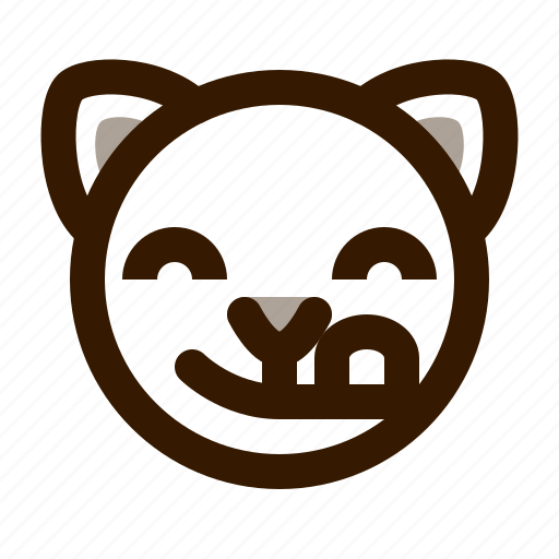 animal, avatar, cat, cute, emoji, emoticon, tongue icon