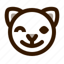 animal, avatar, cat, cute, emoji, emoticon, wink icon
