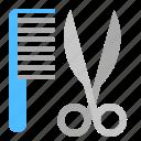 cat, comb, grooming, scissors icon