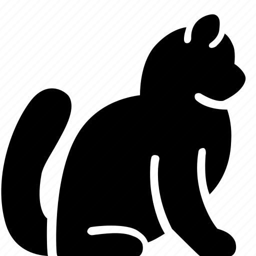 animal, cat, pet, side, sitting icon