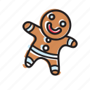 bread, cookie, ginger, smile, emoticon, happy, food
