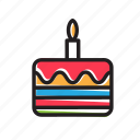 birthday, cake, candle, celebration, happy, kid, party icon