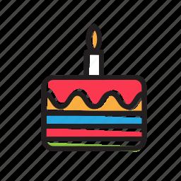 birthday, cake, candle, celebration, happy, kid, party icon